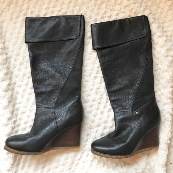 6b8a825fd9b Ugg Ravenna Knee High Wedge Leather Boots Size 7.5